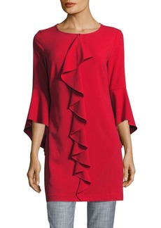 Laundry by Shelli Segal Solid Bell Sleeve Ruffle Dress