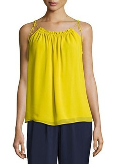 Laundry By Shelli Segal Solid Drawcord-Neck Top