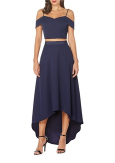 LAUNDRY BY SHELLI SEGAL Solid Off-The-Shoulder Two-Piece Gown