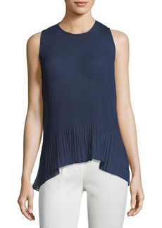 Laundry by Shelli Segal Solid Pleated Chiffon Top