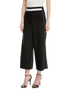 Laundry By Shelli Segal Sport-Striped Wide-Leg Cropped Pants