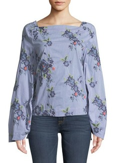 Laundry By Shelli Segal Square-Neck Tie-Sleeve Blouse