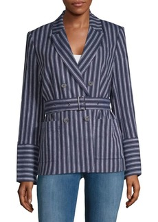 Stripe Double-Breasted Blazer