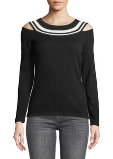 Laundry By Shelli Segal Stripe-Top Cold-Shoulder Sweater