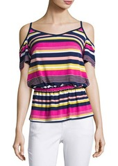 Laundry By Shelli Segal Striped Cold-Shoulder Top