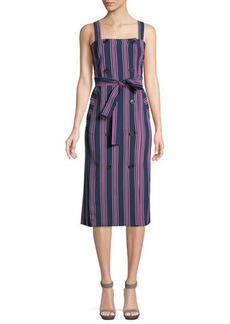 Laundry By Shelli Segal Striped Double-Breasted Belted Midi Dress