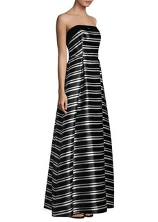 Striped Floor-Length Ball Gown