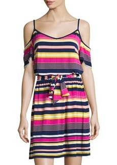 Laundry By Shelli Segal Striped-Knit Cold-Shoulder Dress