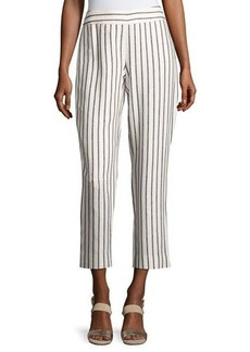 Laundry By Shelli Segal Striped Linen-Blend Cropped Pants
