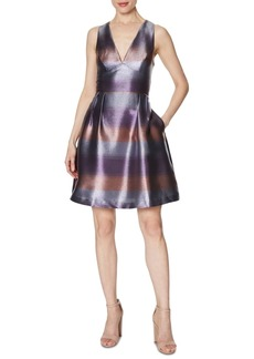 Laundry by Shelli Segal Striped Metallic Fit & Flare Dress