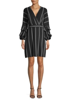 Laundry by Shelli Segal Striped Tiered-Sleeve Shift Dress