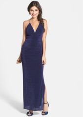 Laundry by Shelli Segal Surplice V-Neck Flecked Jersey Gown
