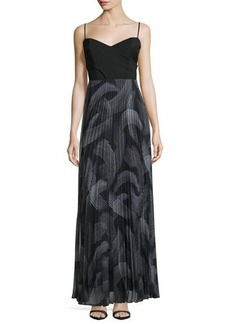 Laundry by Shelli Segal Sweetheart-Neck Pleated-Skirt Maxi Dress