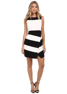 Laundry by Shelli Segal Textured Crepe Stripe Faux Wrap Sleeveless Dress
