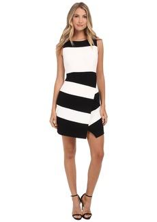 Laundry by Shelli Segal Textured Crepe Stripe Faux Wrap Sleeveless Dress