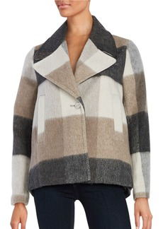 LAUNDRY BY SHELLI SEGAL Textured Plaid Coat