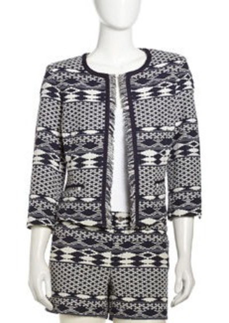 Laundry by Shelli Segal Three-Quarter Geo-Print Fringe Jacket, Indigo Multi