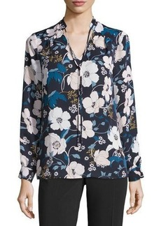 Laundry By Shelli Segal Tie-Neck Floral-Print Blouse