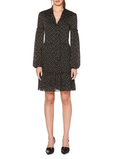 Laundry by Shelli Segal Tie Neck Polka Dot Ruffle Trim Dress