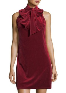 Laundry By Shelli Segal Tie Neck Velvet Shift