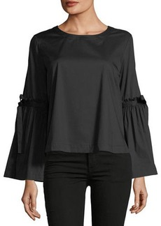 Laundry By Shelli Segal Tie-Sleeve Crop Poplin Top