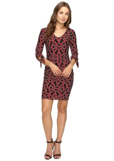 Laundry by Shelli Segal Tie Sleeve Printed Matte Jersey Dress