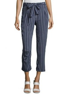 Laundry By Shelli Segal Tie-Waist Striped Crop Pants