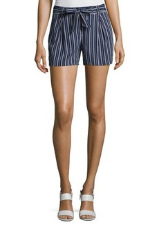 Laundry By Shelli Segal Tie-Waist Striped Woven Shorts