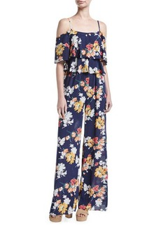 Laundry By Shelli Segal Tiered Cold-Shoulder Floral-Print Jumpsuit