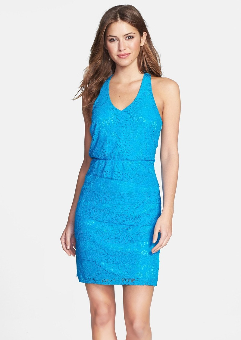 Laundry by Shelli Segal Tiered Lace Blouson Dress (Petite)