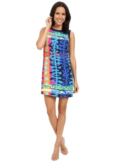 "Laundry by Shelli Segal ""Tiki Lounge"" Greyson Crepe Printed Woven Tank Dress with Side Zips"