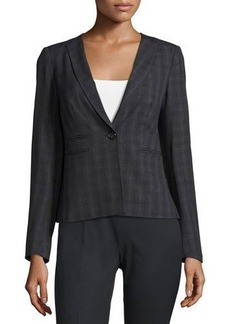 Laundry By Shelli Segal Tonal Plaid-Print Tailored Jacket