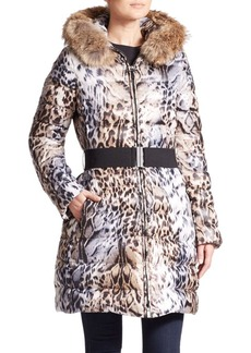 Laundry by Shelli Segal Toya Leopard-Print Fur-Trimmed Puffer