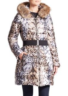 Laundry by Shelli Segal Toya Leopard-Print Fur-Trimmed Puffer