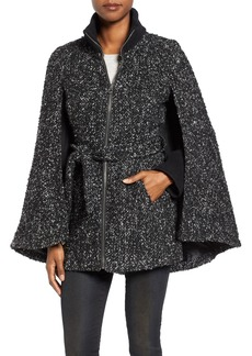 Laundry by Shelli Segal Tweed Bouclé Belted Cape