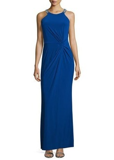 Laundry by Shelli Segal Twist-Front Beaded Neck Gown