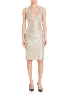 Laundry by Shelli Segal Twist Open Back Metallic Dress