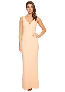 Laundry by Shelli Segal V-Neck Cut Out Stretch Crepe Gown