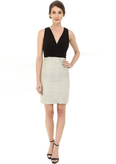 Laundry by Shelli Segal V-Neck Peek A Boo Back Cocktail Dress with Matte Jersey Top