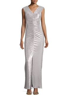 Laundry by Shelli Segal V-Neck Ruched Metallic Gown