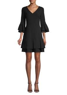 Laundry by Shelli Segal V-Neck Tiered Flounce Mini Dress