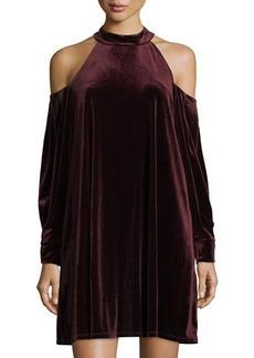 Laundry By Shelli Segal Velvet Cold-Shoulder Dress