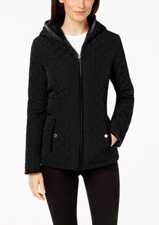 Laundry by Shelli Segal Velvet-Trim Quilted Puffer Coat