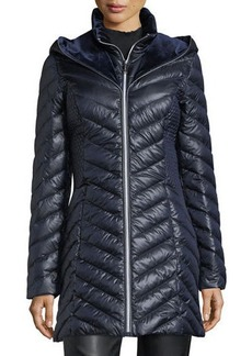 Laundry By Shelli Segal Velveteen-Hooded Puffer Jacket