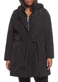 Laundry by Shelli Segal Water Resistant Hooded Coat with Puffer Bib Inset (Plus Size)