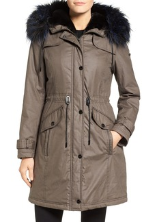 Laundry by Shelli Segal Waxed Cotton Coat with Removable Faux Fur Trim