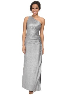 Laundry by Shelli Segal Whirpool Foil Knit One Shoulder Gown