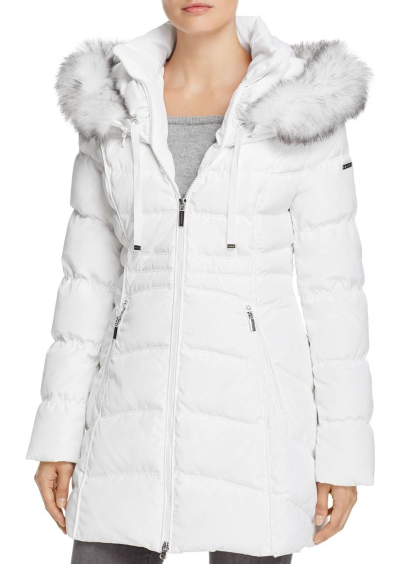 Laundry by Shelli Segal Windbreaker Faux Fur Trim Puffer Coat