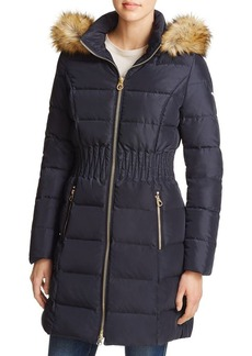 Laundry by Shelli Segal Windbreaker Waist Faux Fur-Trim Puffer Jacket