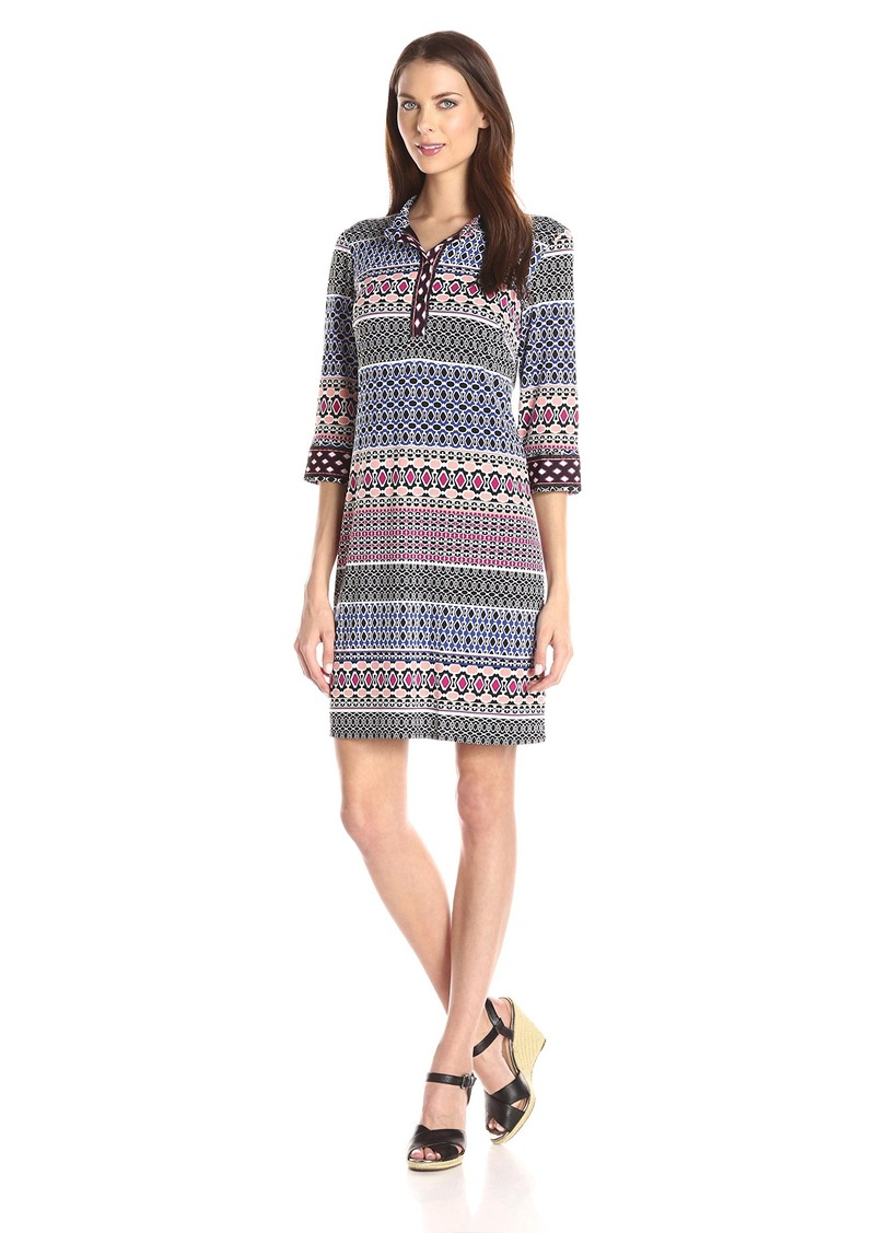 laundry BY SHELLI SEGAL Women's 3/4 Sleeve Print Matte Jersey Shirt Dress